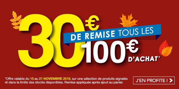 Operation Automne - 30€ de remise tous les 100€ d'achat